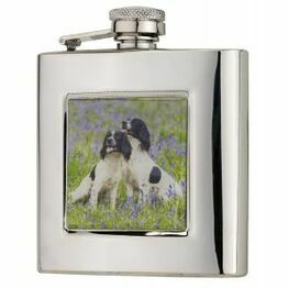 6oz Square Spaniels Flask in Presentation Box by Bisley