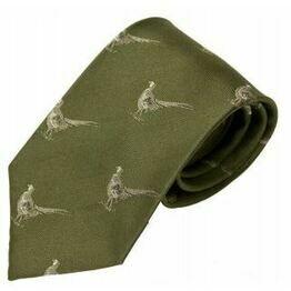 No.17 Tie Green Pheasants Silk Tie by Bisley