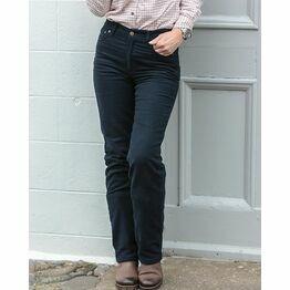 Hoggs Of Fife Ladies Stretch Moleskin Jeans (Straight Leg) - Navy