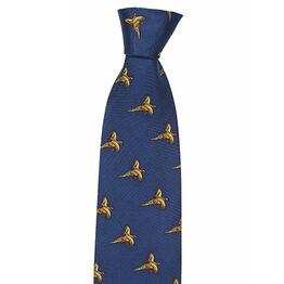 Hoggs Flying Pheasants Print Silk Country Tie - Navy