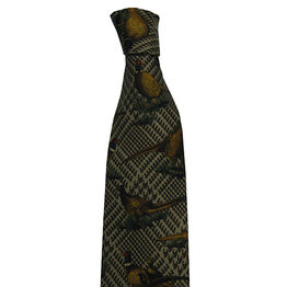 Hoggs of Fife Silk Country Tie Brown/Green Plaid on Gold - Pheasants