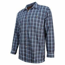 Hoggs Bark Micro-Fleece Lined Check Shirt - Navy/Brown
