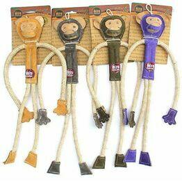 Miro Leather Monkey Dog Toy