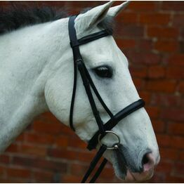 """Brown Cavesson Bridle Raised & Rubber Grip Reins 5/8"""""""