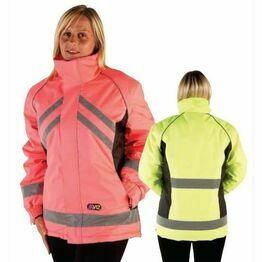 Hi Vis Waterproof Riding Jacket - Pink/Black