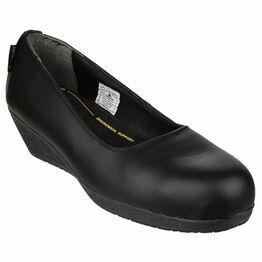 Amblers Safety FS107 Antibacterial Memory Foam Wedge Shoes (Black)