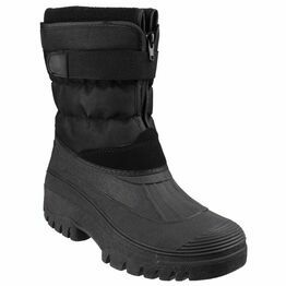 Cotswold Chase Touch Black Fastening & Zip Snow Boots