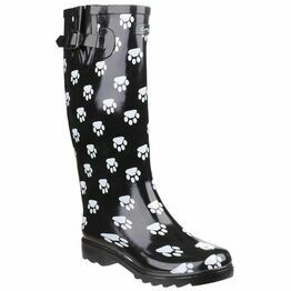 Cotswold Dog Paw Wellington Boots (Black & White)