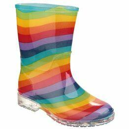 Cotswold PVC Rainbow Stripe Junior Wellington Boots