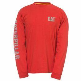Caterpillar Custom Banner Long Sleeve T-Shirt - Red