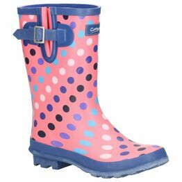 Cotswold Paxford Elasticated Mid Calf Wellington Boot in Pink/Multi Spot