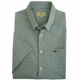 Hoggs Perth Short Sleeve Check Shirt - Green