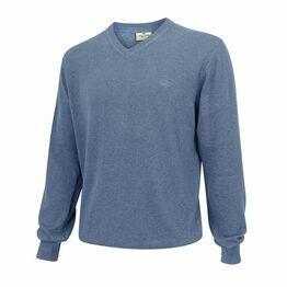 Hoggs Stirling Cotton V-Neck Jumper - Denim Blue