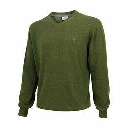 Hoggs Stirling Cotton V-Neck Jumper - Olive Green