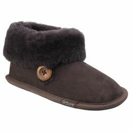 Cotswold Wotton Sheepskin Bootie Slipper in Chocolate