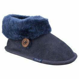 Cotswold Wotton Sheepskin Bootie Slipper in Dark Blue