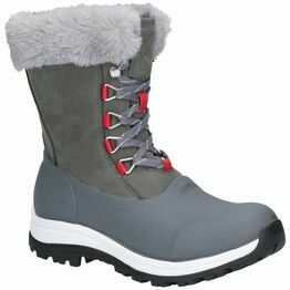 Muck Boots Arctic Après Leather Short Boot in Grey/Red