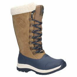 Muck Boots Arctic Après Leather Tall Wellington Boot in Otter/Navy
