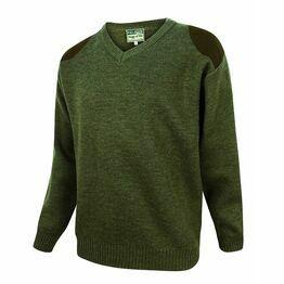 Hoggs of Fife Melrose V-Neck Hunting Pullover in Loden
