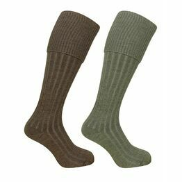 Hoggs of Fife 1902 Plain Turnover Top Stockings in Lovat/Oatmeal (Twin Pack)