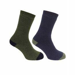 Hoggs of Fife 1904 Country Short Socks in Dark Green/Dark Navy (Twin Pack)