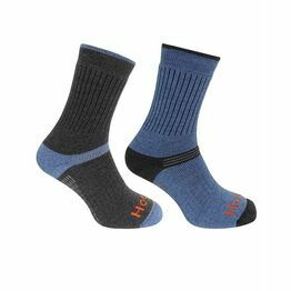 Hoggs of Fife 1905 Tech Active Socks in Charcoal/Denim (Twin Pack)