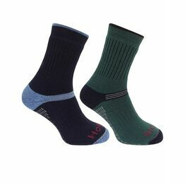 Hoggs of Fife 1905 Tech Active Socks in Green/Navy (Twin Pack)