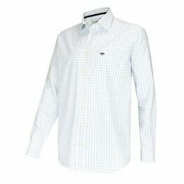 Hoggs of Fife Turnberry Twill Cotton Shirt in White/Blue Check