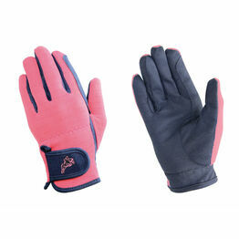 Hy5 Children's Every Day Two Tone Riding Gloves - Black/Pink