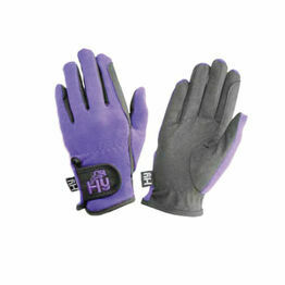 Hy5 Children's Every Day Two Tone Riding Gloves - Black/Purple