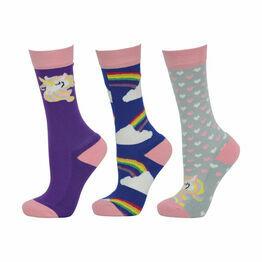 HyFASHION Unicorn Socks (Pack of 3) - Pink/Grey/Purple