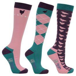 HyFASHION Farm Yard Socks (Pack of 3) - Plum/Pink/Green/White - Adult 4-8