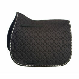 HySPEED Deluxe Saddle Pad with Cord Binding - Black/Black, White & Metallic Silver Cord