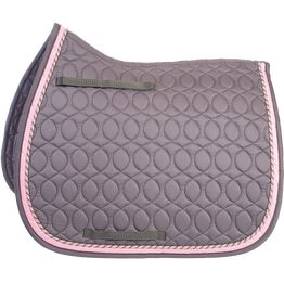 HySPEED Deluxe Saddle Pad with Cord Binding - Grey/Grey, Pink & Silver Cord