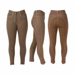 HyPERFORMANCE Denim Look with Leather Seat Ladies Breeches - Brown