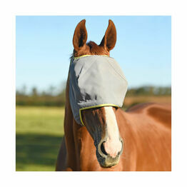 Field Relief Midi Fly Mask (No Ears) - Grey with Yellow Binding