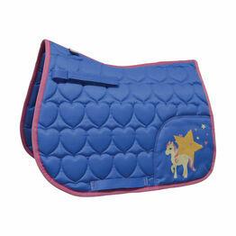 Little Rider Star in Show Saddle Pad - Regatta Blue/Cameo Pink - Pony/Cob