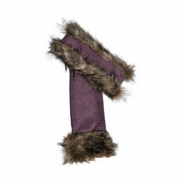 George & Dotty Alice Headband and Scarf Set - Light Brown Faux-Fur with a Light Rose Pink Tweed - One size