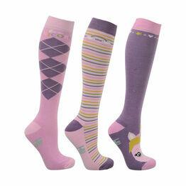 HyFASHION Little Unicorn Socks (Pack of 3) - Powder Pink/Dusty Lilac/Sap Green - Child 8-12