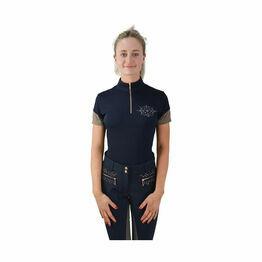 HyFASHION Kensington Ladies Sports Shirt - Navy/Taupe/ Rose Gold