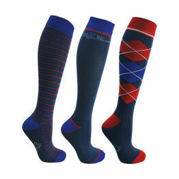 Hy Signature Socks (Pack of 3) - Navy/Red/Blue - Adult 4-8