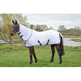 Hy Signature Guard Detachable Fly Rug - White Bound Navy/Blue