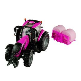 Britains Valtra TZ54 Tractor & Bales Pink Replica Playset