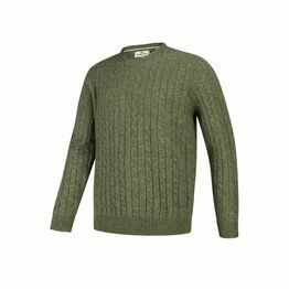 Hoggs Jedburgh Crew Neck Cable Knit Jumper - Thyme