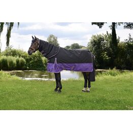 StormX Original 200 Turnout Rug with Detachable Neck Cover - Black/Purple/Yellow