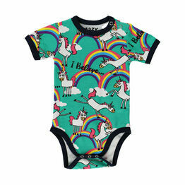 LazyOne Girls Unicorn Babygrow Vest - Turquoise