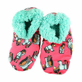 LazyOne Women Don't Do Morning Fuzzy Slippers - Red
