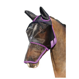 Hy Equestrian Mesh Full Mask with Ears and Nose - Black/Grape Royal