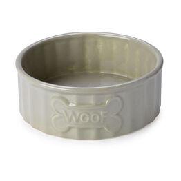 House of Paws Woof Bone Dog Bowl - Mink