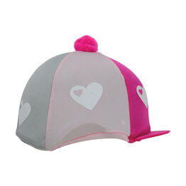 Hy Equestrian Glitter Hearts Hat Cover - One Size